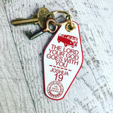 the Lord your God goes with you VW bus van red white retro motel key tag fob