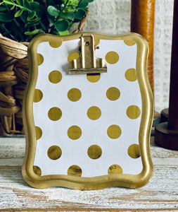 metal clip frame (gold dot) to be purchased with #TheAdoptShoppecards