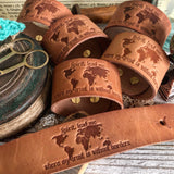 Spirit, lead me where my trust is without borders (Hillsong oceans) (camel/natural) leather cuff