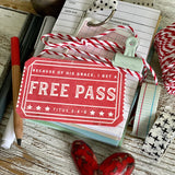 because of His grace, I get a FREE PASS vintage red ticket #TheAdoptShoppecard