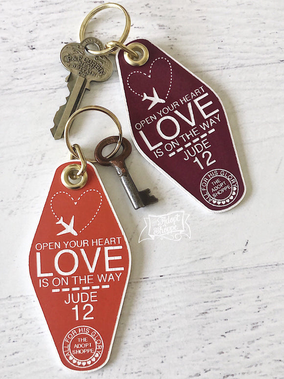 open your heart LOVE is on the way orange maroon white retro motel key tag fob