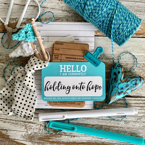 holding onto hope hello nametag (Hebrews 10:23) #TheAdoptShoppecard