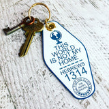 this world is not my home blue white retro motel key tag fob