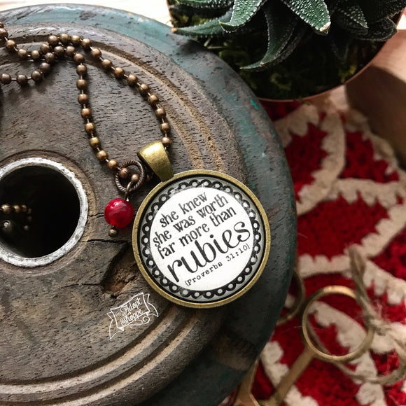 she knew she was worth far more than rubies (Proverbs 31:10) virtuous woman necklace
