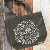 i am enough because of Jesus grey fair trade tote bag