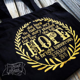 hope and a future Jeremiah 29:11 gold foil black fair trade tote bag