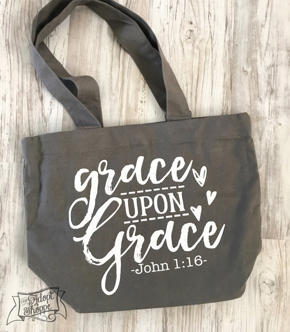 grace upon grace grey fair trade tote bag