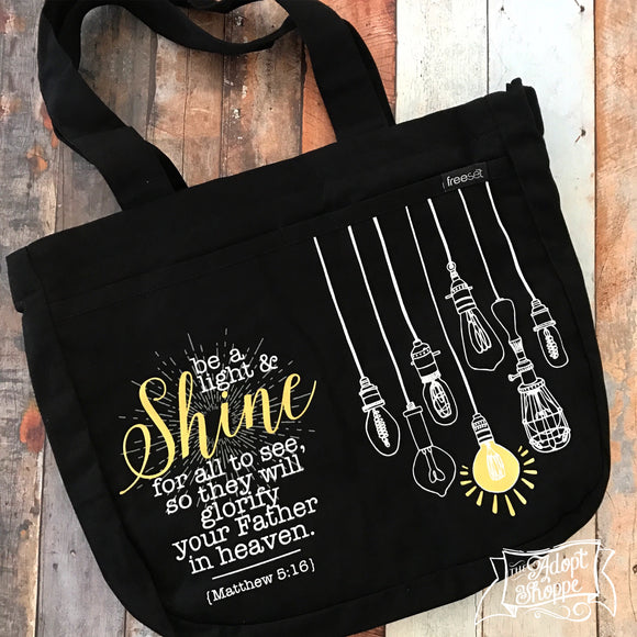 be a light and shine vintage lightbulb gold foil black fair trade tote bag