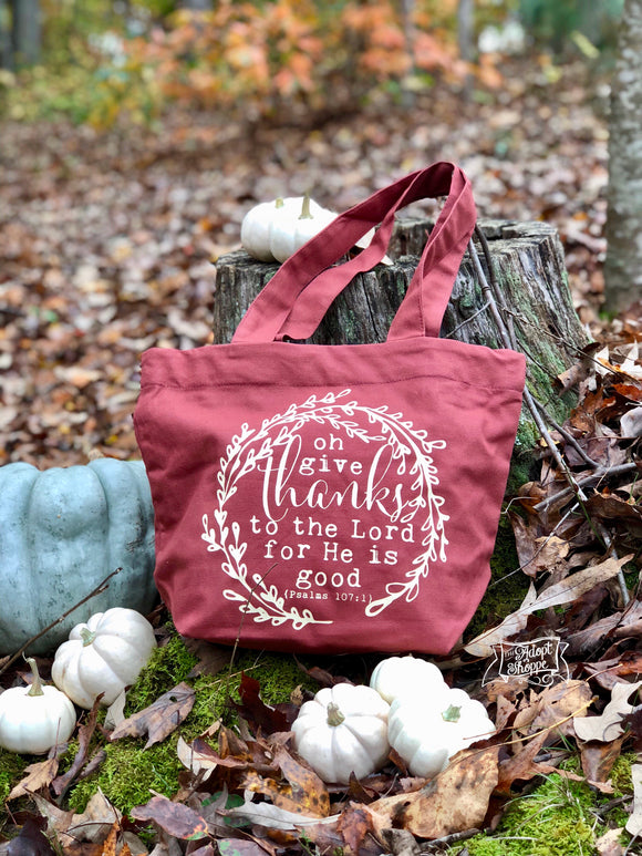 oh give thanks fair trade tote bag