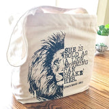 bold as a lion fair trade tote bag