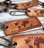 Spirit lead me where my trust is without borders (camel/natural) leather tag