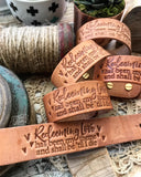 redeeming love has been my theme and shall be 'til i die hymn (natural camel) leather cuff