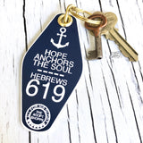 hope anchors the soul navy blue retro motel key tag fob