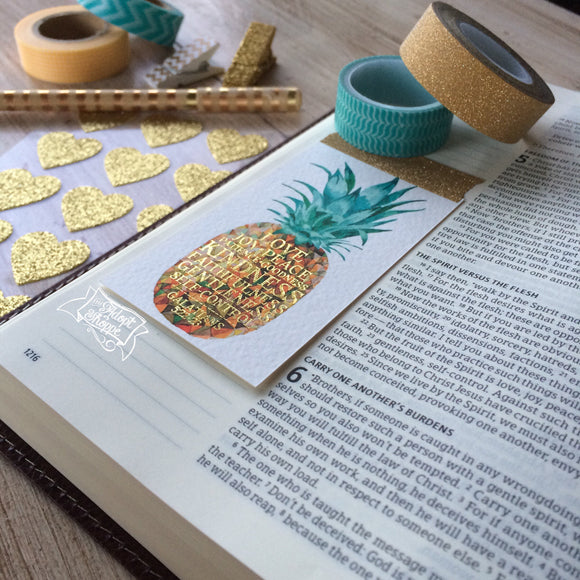 pineapple fruits of the Spirit gold foil #TheAdoptShoppecard (rectangle)