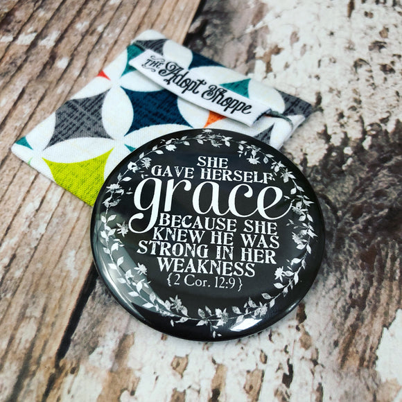 she gave herself grace (2 Corinthians 12:9) pocket compact mirror
