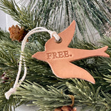 leather ornament bird FREE (natural unpainted)