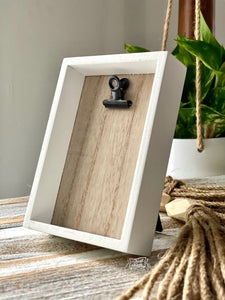 wooden clip frame (white framed) to be purchased with #TheAdoptShoppecards