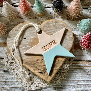 leather ornament star HOPE (matte sky blue)