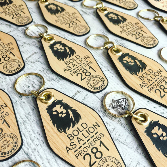 bold as a lion black wood retro motel key tag fob