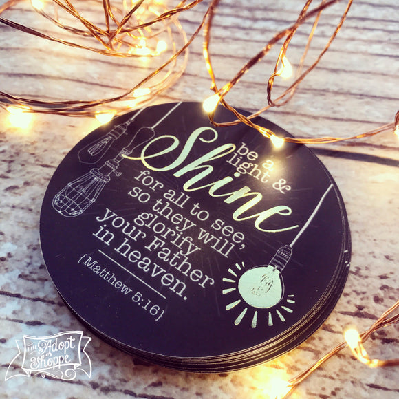 shine vintage lightbulb gold foil #TheAdoptShoppecard