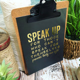"SPEAK UP 5""x7"" gold foil print"