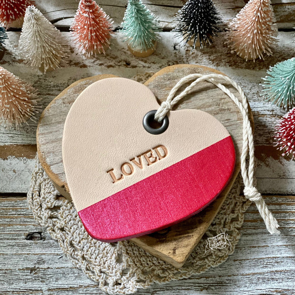 leather ornament heart LOVED (metallic pinkish red)