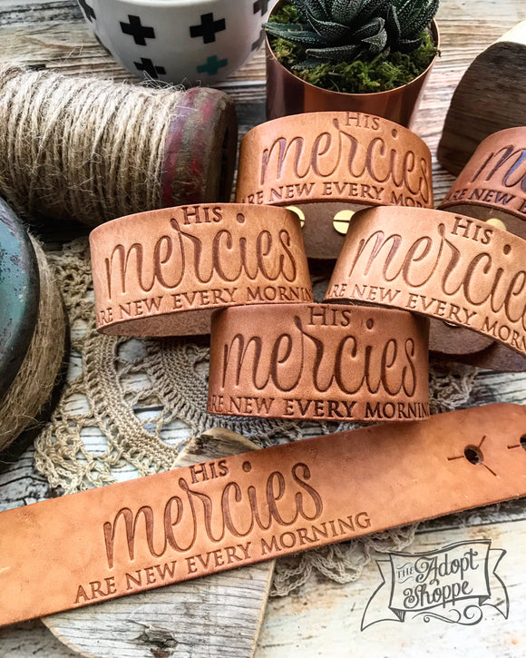 His mercies are new every morning (camel/natural) leather cuff