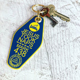 Jesus took naps blue yellow retro motel key tag fob
