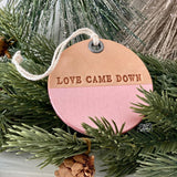 leather ornament LOVE CAME DOWN (metallic rose gold)