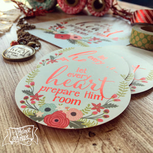 let every heart prepare Him room CHRISTMAS red foil #TheAdoptShoppecard