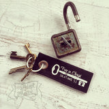 free in Christ black vintage key fair trade key fob