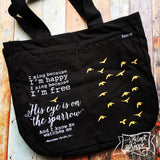 His eye is on the sparrow hymn gold foil black fair trade tote bag