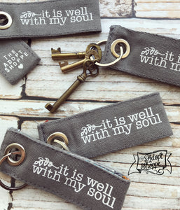 it is well with my soul hymn grey fair trade key fob