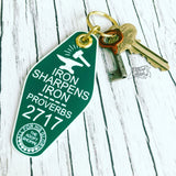 iron sharpens iron evergreen & white retro motel key tag fob
