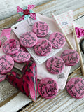 you are so loved (John 3:16) pink heart flair button pin / magnet / flat back