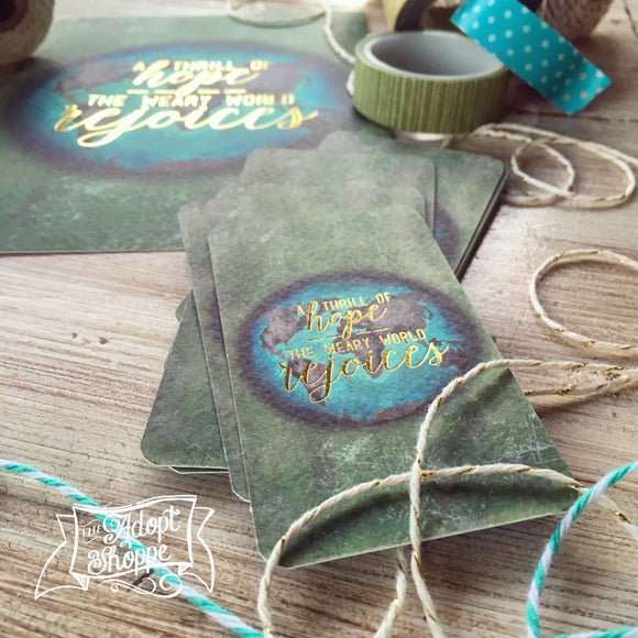 a thrill of hope -- the weary world rejoices CHRISTMAS gold foil #TheAdoptShoppecard