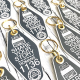 share your story typewriter grey retro motel key tag fob