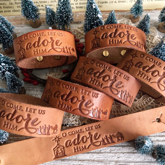 oh come let us adore Him (natural camel) Christmas leather cuff