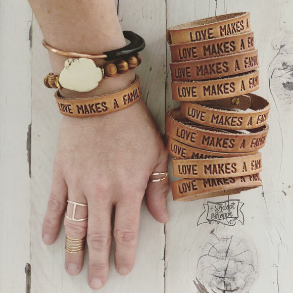 love makes a family (camel/natural) leather cuff