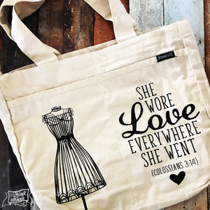 she wore love everywhere she went fair trade tote bag