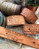prone to wander Lord, i feel it -- bind my wandering heart to Thee hymn (camel/natural) leather cuff