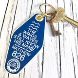 the winds and waves still know His name blue retro motel key tag fob