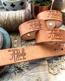 oh Lord abide with me hymn (natural camel) leather cuff