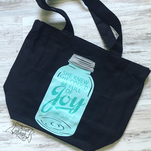 full of joy mason jar black fair trade tote bag