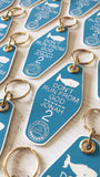 don't run from God whale sky blue white retro motel key tag fob