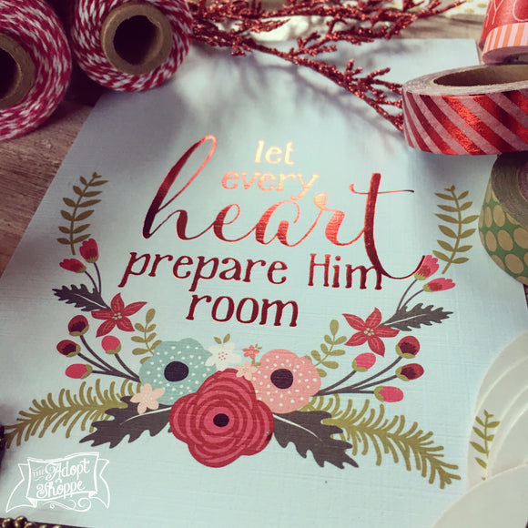 let every heart prepare Him room CHRISTMAS red foil 5