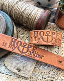 hope is my anchor (Hebrews 6:19) (camel/natural) leather cuff