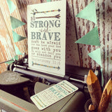 "strong & brave (teal) 5""x7"" print"