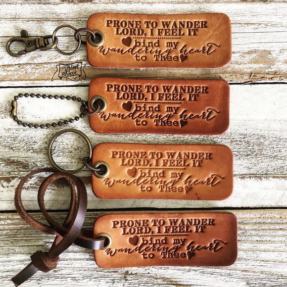 bind my wandering heart to Thee (camel/natural) leather tag