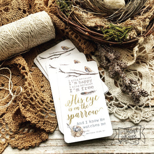 gold foil His eye is on the sparrow hymn #TheAdoptShoppecard